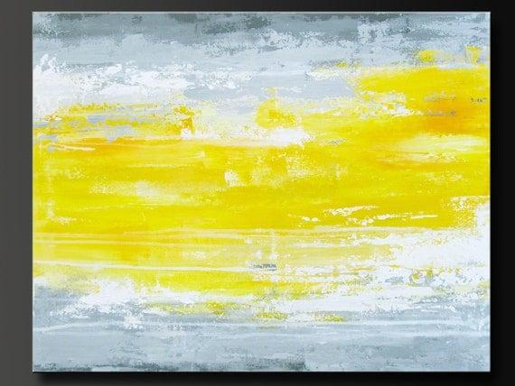 Sunbeam - 22 x 28 - Abstract Acrylic Painting - Contemporary Wall Art - Yellow Grey
