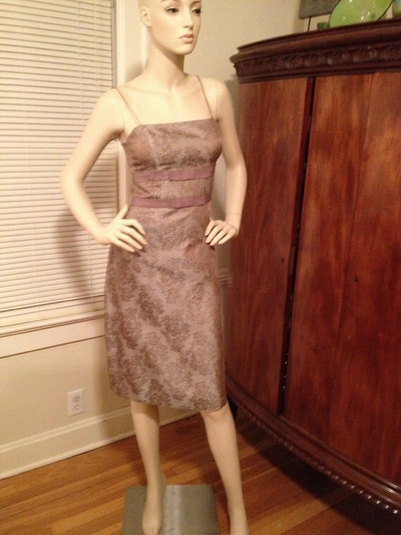 Vintage Taupe Lace Cocktail Dress form fitting with empire waist