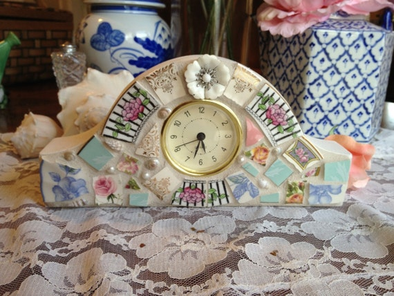 """Desk Clock, in Mosaic with repurposed  Vintage White Flower Earring, Shabby Chic, Garden Style, 4.5"""" x 9"""""""