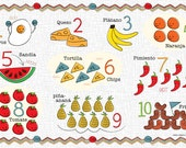 Kids Spanish Number and Food Chart Placemat