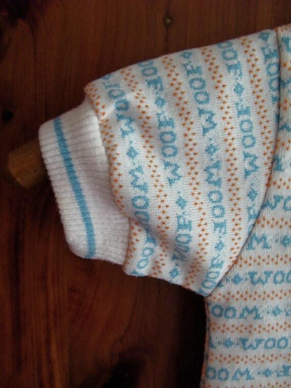 Vinatge Baby Boy Girl Health-Tex Tee Shirt WOOF 18mos puppy love blue diamonds orange dots