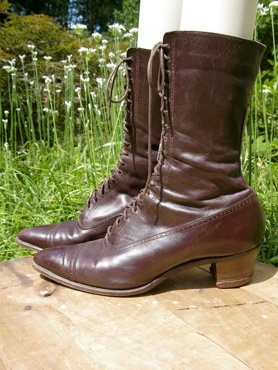 Vintage Antique 1900's Victorian Edwardian Lace Up Boots Granny Boots Theatre Costume Steampunk Maroon Cordovan Leather 5N