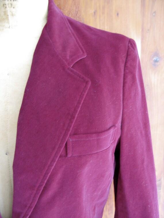 Vintage 70s Hippie Boho Maroon Oxblood Velvet Secretary Jacket Blazer Button Closures Front Pockets large lapels size Med