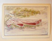 TETHERED CANOES handmade tile wall-hanging kiln-fired ceramic carving & watercolor with white border by Wisconsin artist