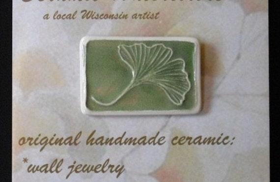 Ginkgo Leaf pin  handmade ceramic watercolor original design by Wisconsin artist