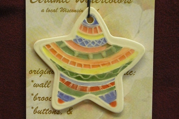 STAR DECO ORNAMENT handmade by me ceramic original design sculpted clay medalion colorful hanging small gift