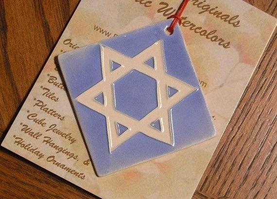 STAR OF DAVID personalizable ornament handmade ceramic watercolor hanging colorful original design by Wisconsin artist