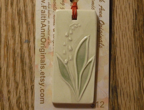 LILY of the VALLEY ceramic gift tag, bag charm, pendant, zipper pull, mini ornament  handmade garden nature lover To-From small ornament