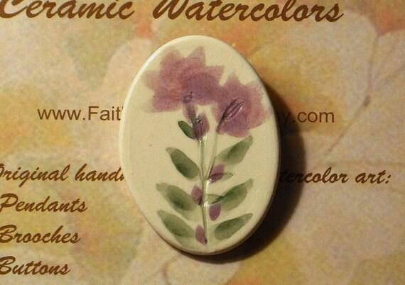 WILDFLOWER pin handmade ceramic-watercolor art summer flower volunteer OOAK large oval lavender lilac amethyst eggplant by Wisconsin artist