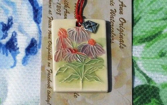 CONEFLOWERS handmade ceramic pendant  aka thoughtful gift tag, lovely bag charm, mimi ornament  garden nature lover To-From small ornament