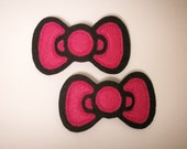 Mini Pretty in Pink Bow Hair Clips - Set of Two