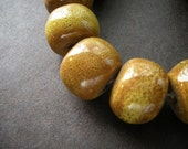 Set of 4 Large Olive Green Ceramic Beads