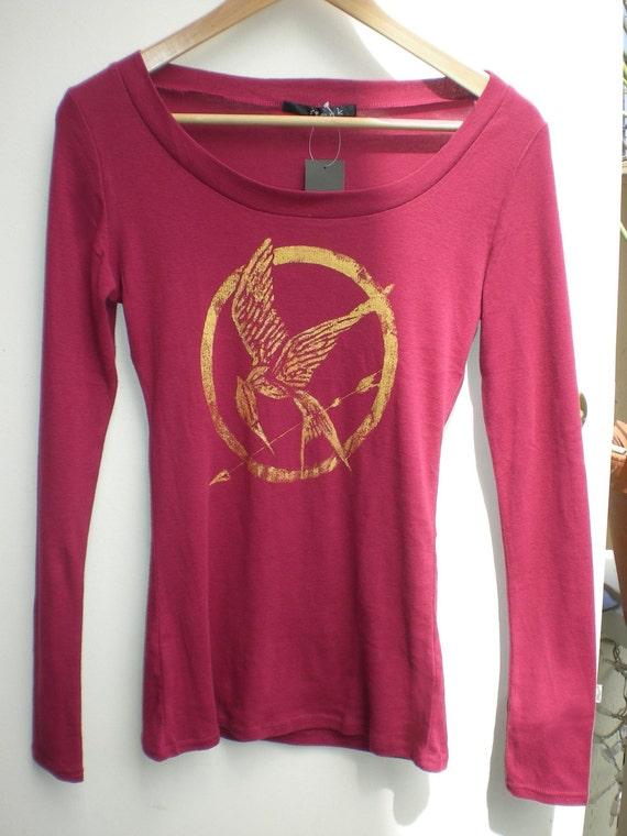 Hunger Games MockingJay Grunge Design Formfitting Raspberry long sleeve.