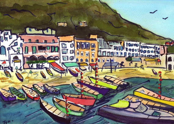 Original Watercolor/Gouche Painting 9 x 12.5 inches Waterfront in Capri Italy Free Shipping