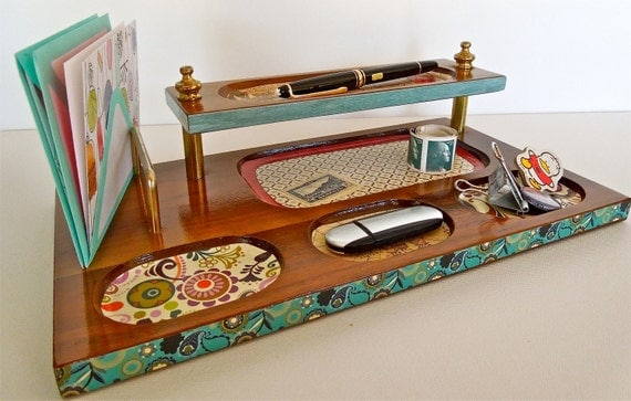 Office Vintage Desk Organizer/ Valet/ Caddy