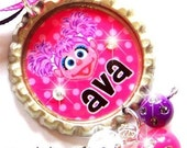 ABBY CADABBY INSPIRED - Personalized Custom Bottle Cap Pendant Necklace - Beaded Dangles and Swavorski Crystal Accents - Perfect for Gifts