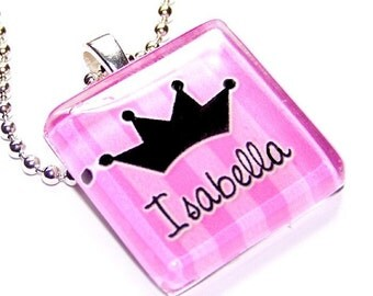 PERSONALIZED INITIAL OR NAME - PRINCESS PINK STRIPED- CUSTOMIZED GLASS TILE PENDANT NECKLACE