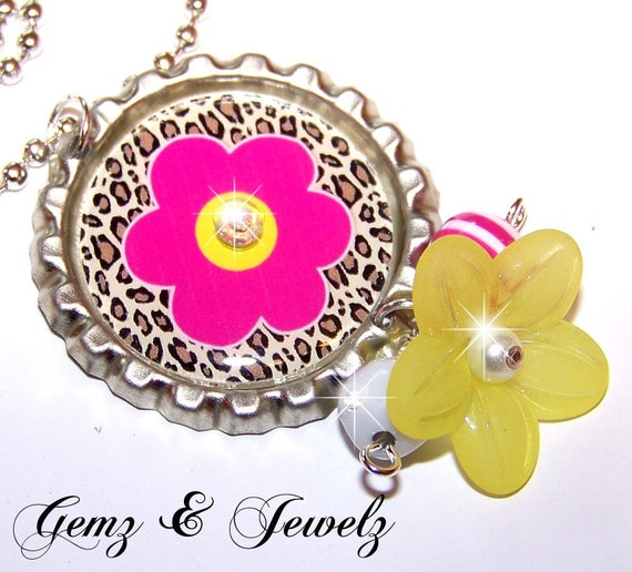 CHEETAH FLOWER DESIGN - Personalized Custom Bottle Cap Pendant Necklace - Beaded Dangles and Swavorski Crystal Accents - Perfect for Gifts