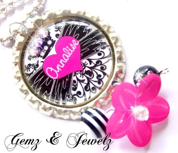 ROCK STAR - Personalized Hear with Wings- Custom BottleCap Pendant Necklace - Beaded Dangles and Swavorski Crystal Accents