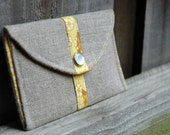 Mini Snap Purse with Vintage Cotton and Natural Linen