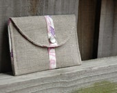 SALE - Mini Snap Purse/Wallet with Vintage Cotton and Natural Linen