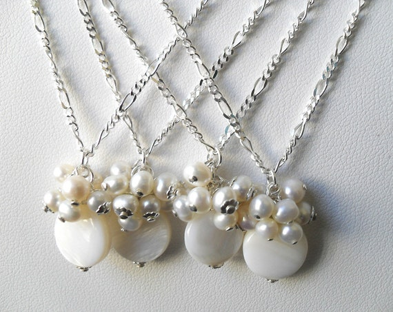 Pearl Necklace, pearl pendant with silver chain, Bridesmaid jewelry set, white color pearls,  white jewelry, bridal party necklace - Patty