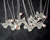 Hand Stamped BUTTERFLY Sterling personalized necklace FLOWER girl First COMMUNION etc.
