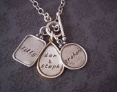 Hand Stamped Jewelry -  Personalized Necklace - Ultimate Family Sterling with Gold Rimmed teardrop on Toggle Clasp necklace