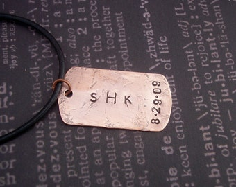 Hand Stamped DOG TAG Copper
