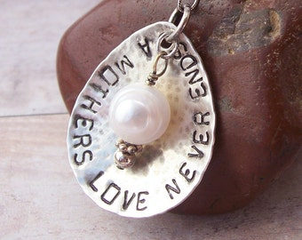 Hand Stamped A MOTHERS LOVE with PEARL Sterling Silver necklace
