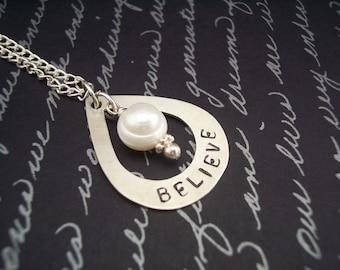 Hand Stamped BELIEVE Open Teardrop Sterling Silver Necklace w/ Pearl