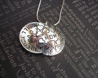 Sterling Silver Locket Style- Thanks Mom  or MOTHER OF The BRIDE Hand Stamped Necklace