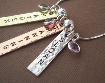 Personalized Necklace- Personalized Jewelry- Custom Jewelry- Birthstones- Triple Tag- Mixed Metals