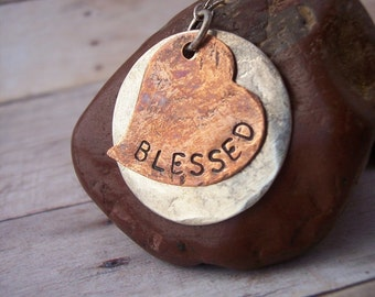 Custom personalized Hand Stamped BLESSED Copper heart with sterling circle