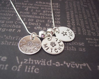 Hand Stamped personalized THREE DISC NECKLACE sterling silver necklace