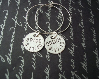 Custom WEDDING wine charms for the BRIDE and GROOM with personalized date sterling silver
