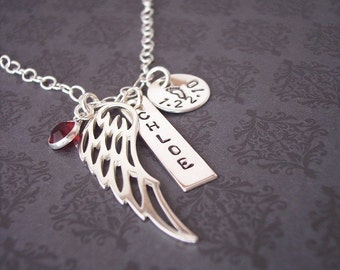 Hand Stamped Sterling BEAUTIFUL ANGEL WING necklace for  Mom loved one