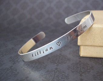 Elegant, Classic Sterling Cuff Bracelet custom Hand stamped personalized