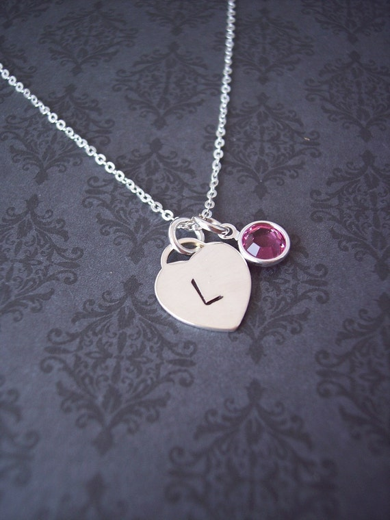 Custom Initial necklace DAINTY Heart perfect for BRIDESMAID or FLOWER girl