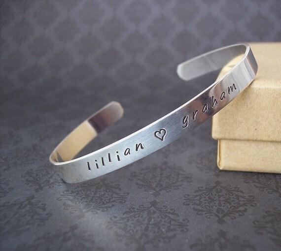 Elegant, Classic Sterling Cuff Bracelet custom Hand stamped personalized