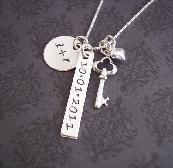 Hand stamped jewelry personalized necklace anniversary for How do you make hand stamped jewelry