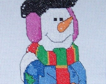 Jolly Snowman Hand Stitched  cross stitch picture, christmas snowman cross stitch, handmade cross stitch