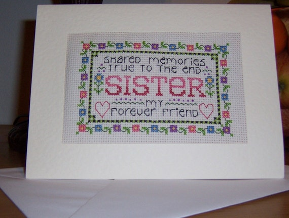 sister completed cross stitch birthday card
