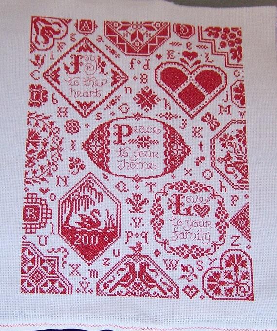 LARGE REDWORK  Sampler completed cross stitch