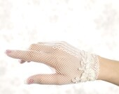 Buy 1 get 1 sale -White gloves - bridal gloves with vintage beaded lace