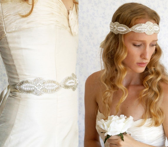 silvery beaded crystals and pearls wedding sash - bridal versatile piece.