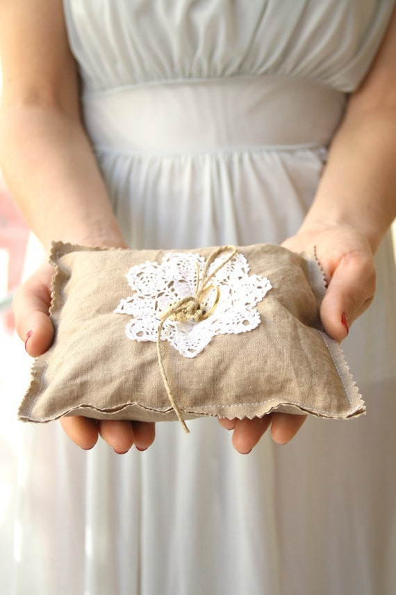 Barn ring pillow  Wedding ring pillow linen ring bearer pillow - shabby chic wedding
