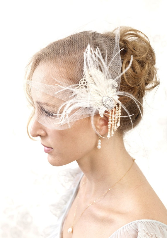 Buy 1 get 1 sale -Bridal birdcage veil with vintage laces, beads and feathers