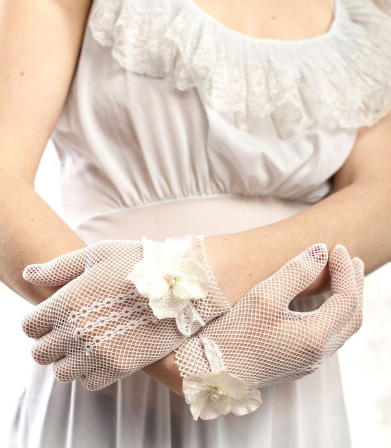 BUY 1 GET 1 SALE Ivory or White Lace Bridal Gloves - bridal gloves with vintage silk flowers