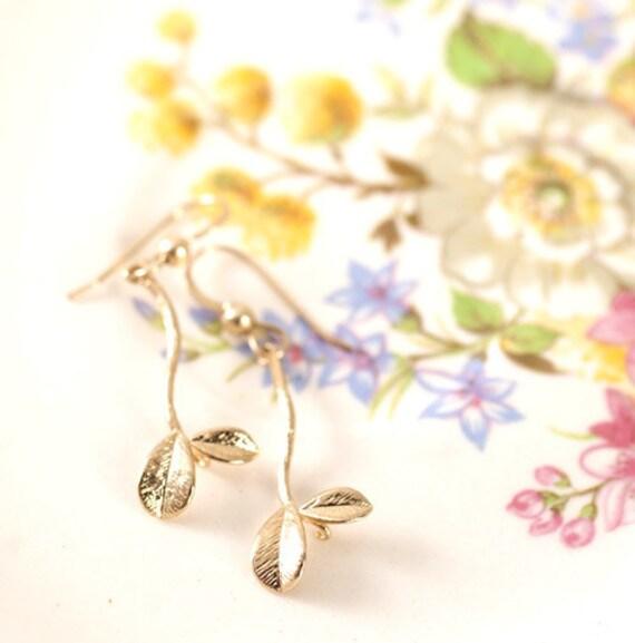 Grecian jewelry grecian earrings Leafs dangle earrings - greek goddess 14K GF earrings - GRECIAN earrings